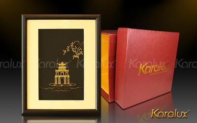Tháp Rùa Hồ Gươm Hà Nội, hồ Hoàn Kiếm mạ vàng 24K   Quà tặng biểu tượng thủ đô