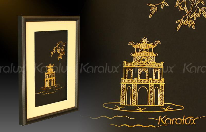 Tháp Rùa Hồ Gươm Hà Nội, hồ Hoàn Kiếm mạ vàng 24K | Quà tặng biểu tượng thủ đô
