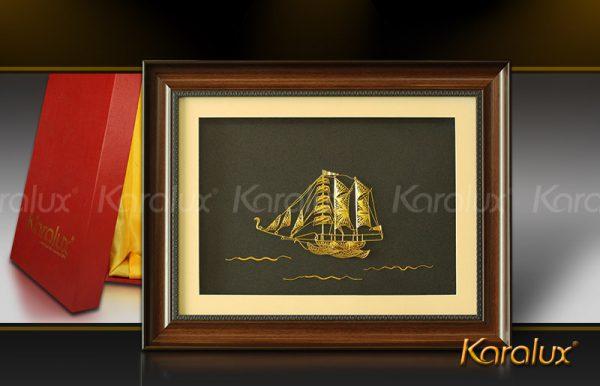 Tranh thuận buồm xuôi gió mạ vàng 24K   Quà tặng phong thủy treo tường 2016