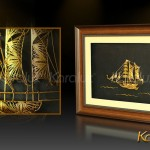 Tranh chữ đồng mạ vàng làm quà tặng mừng thọ