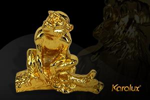 Tượng khỉ bằng đồng mạ vàng 24k