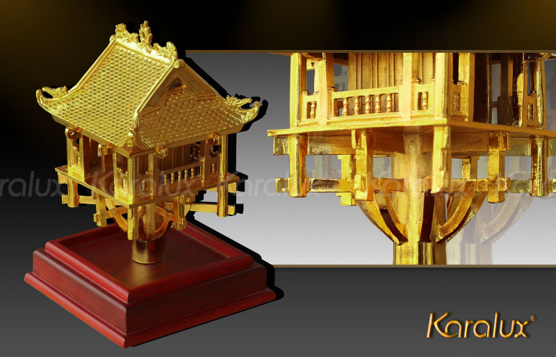 Chùa một cột đúc đồng mạ vàng tinh xảo | Quà lưu niệm tặng đối tác, khách du lịch