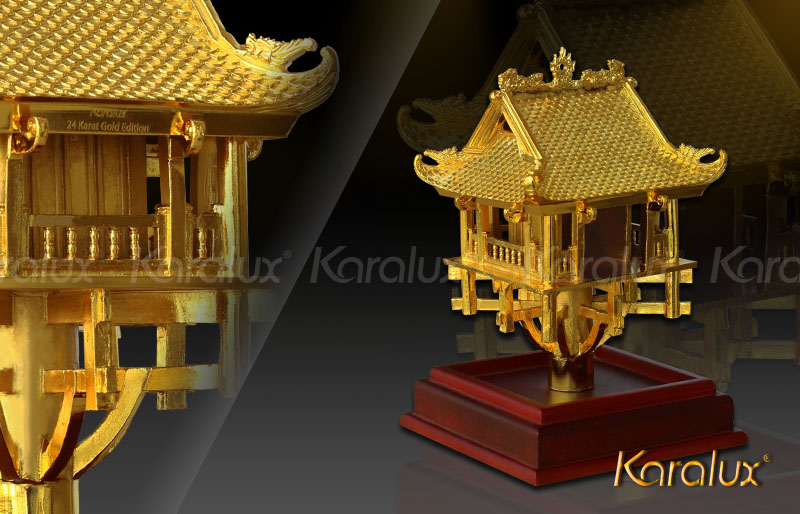 Mô hình Chùa một cột mạ vàng, biểu tượng thủ đô Hà Nội