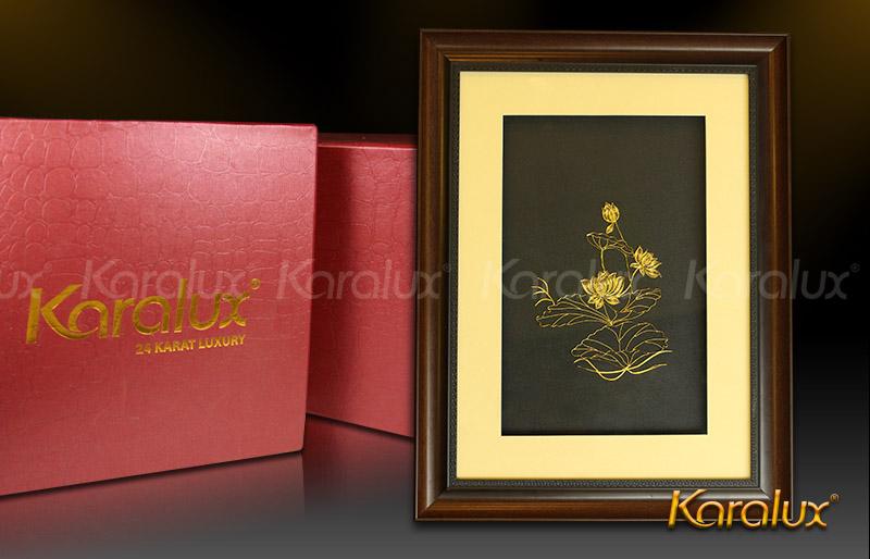 Bức tranh Hoa Sen mạ vàng 24K, Quà tặng lưu niệm cho người nước ngoài, du khách
