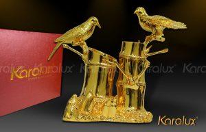 Biểu tượng đôi chim mạ vàng 24k Karalux
