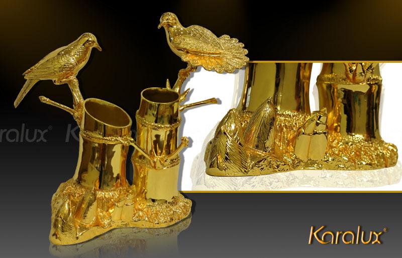 Ý nghĩa mô hình đôi chim trên cành tre mạ vàng 24k