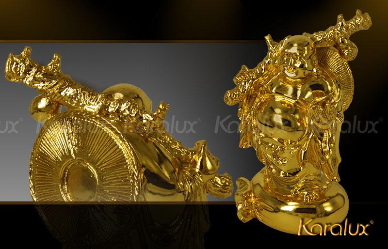 Hình tượng mạ vàng Phật Di lặc đứng trên túi tiền vàng