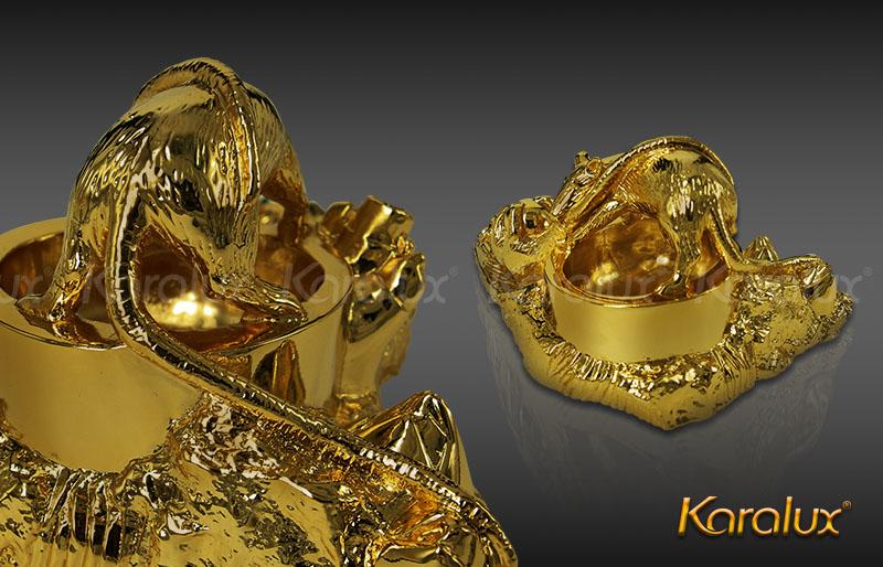 Quà tặng cao cấp Chuột gạt tàn mạ vàng 24k