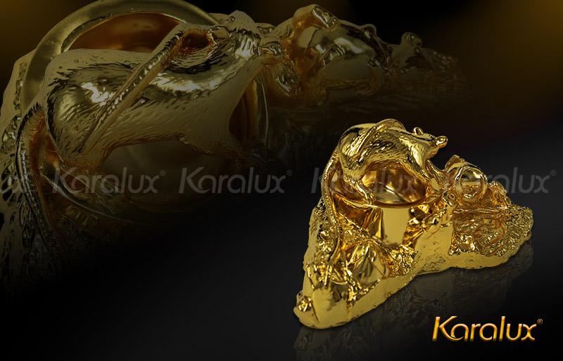 Gạt tàn mạ vàng hình tượng chuột phong thủy