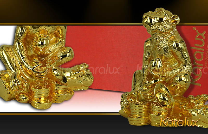 Biểu tượng thông minh, may mắn, tài lộc Khỉ phú quý đúc đồng mạ vàng 24k
