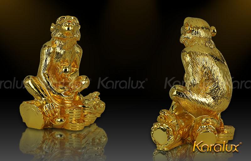 Bài trí khỉ phú quý mạ vàng trong nhà, văn phòng, bàn làm việc
