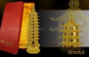 Cách bày trí tháp Văn Xương mạ vàng trong nhà