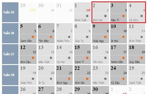 Lịch nghỉ lễ Quốc khánh 2-9-2016