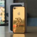iphone 7 mạ vàng 24K đính Rồng vàng nguyên khối