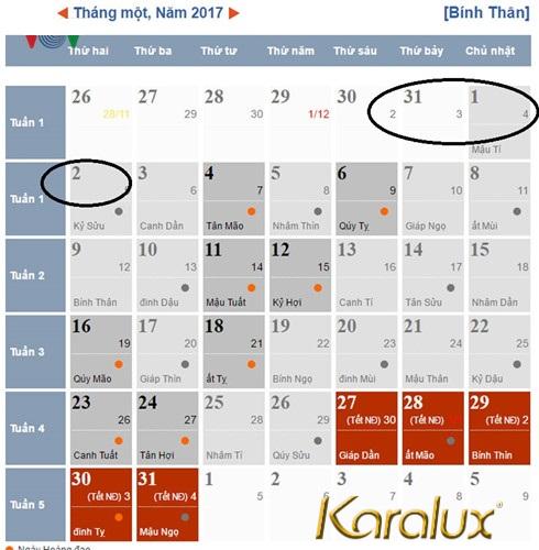 Lịch nghỉ Tết Dương Lịch 2017