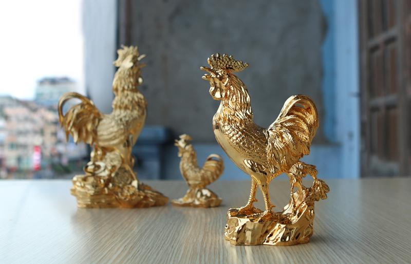 Bộ sưu tập tượng Gà phong thủy mạ vàng bởi Karalux