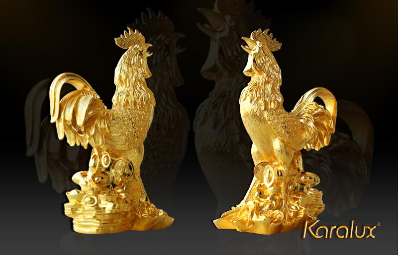 Tượng Gà vàng phú quý làm quà tặng tết 2017
