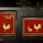 Bức tranh gà trống mạ vàng làm quà tặng tết 2017 độc đáo