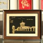 """Bức tranh """"chợ Bến Thành"""" mạ vàng bởi Karalux"""
