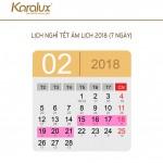 Lịch nghỉ tết Âm Lịch Mậu Tuất 2018