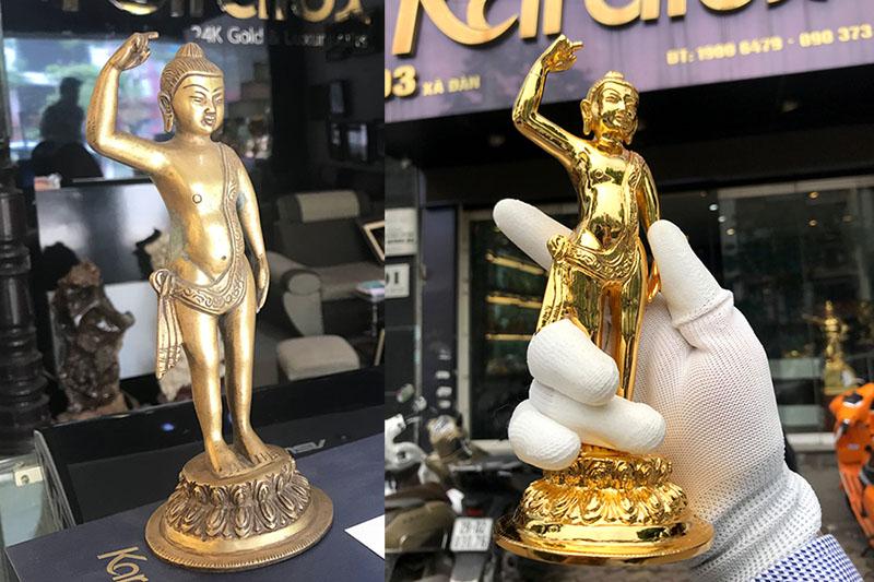 Tượng Phật Đản sanh trước và sau khi mạ vàng