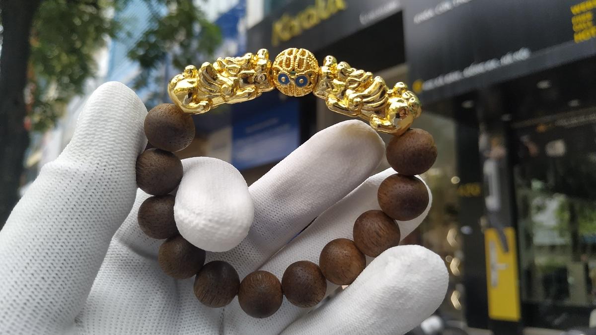 Vòng tay tỳ hưu sau khi được mạ vàng lại với công nghệ mạ vàng cứng Pre Gold